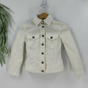 Burberry Brit White Denim Jean Jacket Size 34 XS